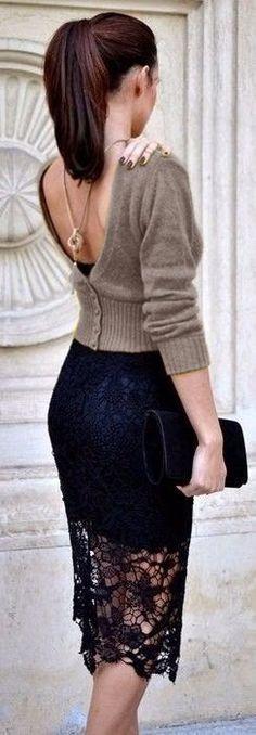 Look! Черная юбка с кружевом! 1