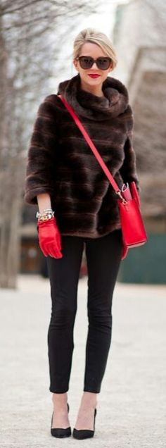 Not a lover of fur however the style of this jacket is so practical for the women on the go. The cowl neckline and 3/4 sleeves are brilliant for the elements and go go go of running errands, getting to work and not overheating. Shades are great too.  Red gloves and bag are those classic add colour basics that serve you all season in any season for any occasion. Tapered classic pant with classic black pump.  Overall a very practical layered classy look.