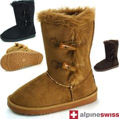 $29.99 free shipping Womens Faux Shearling Boots Fur Lined Mid Calf 2 Toggle Button Flat Heel Shoes #alpineswiss #FashionMidCalf