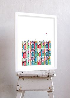 Houses and Birds Print Different Sizes by JudyKaufmann on Etsy