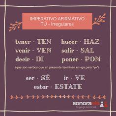 Imperativo afirmativo. Tú - irregulares 2. Entrada en el blog de Sonora ELE.