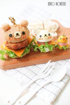 Rilakkuma burgers Rilakkuma, Cute Food, Good Food, Yummy Food, Kawaii Cooking, Cute Bento Boxes, Japanese Food Art, Kawaii Bento, Food Art For Kids