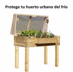 Invernadero de madera para huerto urbano con tela térmica - URBANIC Huerto Urbano