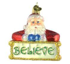 Old World Christmas Believe Santa Glass Ornament. #Christmas #NewYear #Ornament #Decor #giftidea #Gift #gosstudio .★ We recommend Gift Shop: http://www.zazzle.com/vintagestylestudio ★