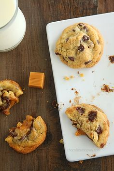 Caramel Stuffed Chocolate Chip Cookies | www.chocolatemoosey.com  Oh my lord...these look divine!