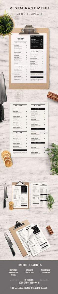 Simple Restaurant Menu Menu, Steak and Photoshop - free cafe menu templates for word
