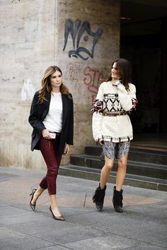 Mirela Forić-Srna & Iva Balaban from Buro24/7.hr wearing the latest clothes from Isabel Marant for H&M.   I tried the sweater on yesterday and I so did not look like that....