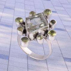 925 STERLING SILVER NEW STLISH Green Amethyst & Peridot Cut RING 7.19g DJR3510 #Handmade #Ring