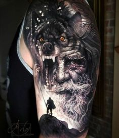 Awesome black and grey realistic tattoo style of Odin motive done by tattoo artist Arlo DiCristina Viking Tattoo Sleeve, Wolf Tattoo Sleeve, Tattoo Sleeve Designs, Sleeve Tattoos, Realistic Tattoo Sleeve, Fenrir Tattoo, Thor Tattoo, Norse Tattoo, Tattoo Symbols