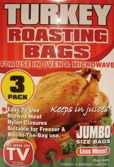 3 X Pack Jumbo Roasting Bags Microwave Oven Cooking Turkey Meat Chicken Fish Uk Turkey Roasting Bag, Roasting Bags, Cooking Turkey, Oven Cooking, Fishing Uk, Microwave Oven, Kitchen Items, How To Cook Chicken