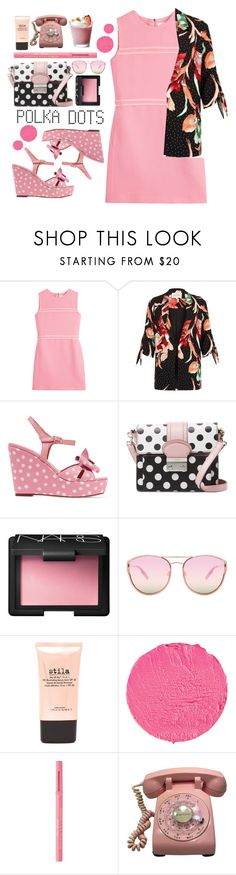 """Polka Dots"" by j4wahir ❤ liked on Polyvore featuring Victoria, Victoria Beckham, River Island, RED Valentino, NARS Cosmetics, Quay, Stila, Givenchy and Too Faced Cosmetics"