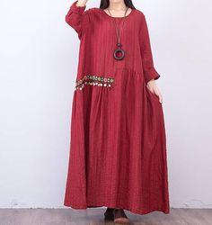 Wine red/ black Loose long dress
