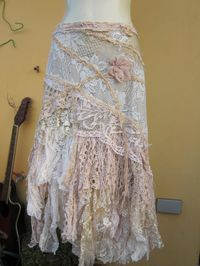 vintage inspired ivory multi lace wrap skirt ...a work by wildskin 115.00
