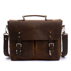 Men s Buckle Embellished Bridle Leather Messenger Bag Leather Laptop Bag, Leather  Briefcase, Tote Backpack 3faa83d906