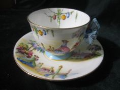 RARE! AYNSLEY CUP SAUCER BUTTERFLY HANDLE ORIENTAL LADY FLORAL TREES BOAT