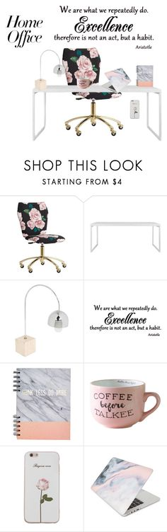 """""""rose home office"""" by cristina-2017 ❤ liked on Polyvore featuring interior, interiors, interior design, home, home decor, interior decorating, PBteen, URBN, Recover and home office"""