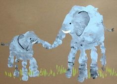 Elephant mom and baby handprint . also other ideas for hand/footprint art