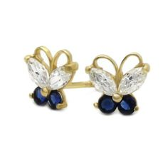 Valentine's Day Gift 14K Gold Stud Earring Blue & White CZ Cute Butterfly Yellow Gold Earring W/ Screw-Back For Kids & Teens Double Accent. $43.99. Prompt Shipping. Comes With Beautiful Jewelry Case. 14K Solid Gold