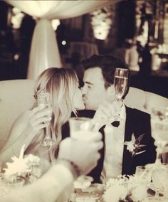 Wedding toast to the beautiful couple. It's that special moment where the future begins.