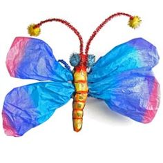 United Art and Education Art Project:  Make a shimmering butterfly sculpture that features tissue paper wings!