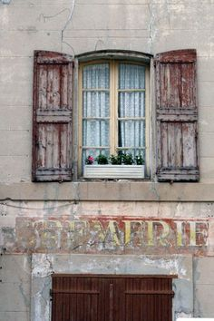 French shutters by Corey Old Windows, Windows And Doors, French Buildings, Vintage Windows, The Beautiful Country, Through The Window, Entrance Doors, Garage Doors, Window Sill