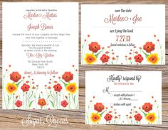 Watercolor Meadows Wedding Invitation Suite ~ Includes Invitation, RSVP Card, Save The Date, & Table Numbers ~ Use coupon code PINTEREST15 at checkout for 15% off of your total order! Perfect for a spring or summer wedding!
