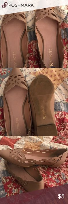 Restricted~ flats Tan flats size 8 1/2~ worn 2-3 times~ like new! Restricted Shoes Flats & Loafers