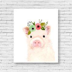 Watercolor baby pig,  nursery art, Animal Paintings,  farm animals, watercolor animal, kids posters, prints, nursery farm animals by zuhalkanar on Etsy https://www.etsy.com/listing/474750599/watercolor-baby-pig-nursery-art-animal