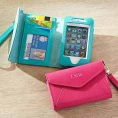 Girls Classic Leather Phone Wristlet