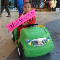 Beep! Beep! Driving in style in his cool green car! #GoBillings