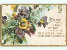 Pre-Linen HAPPY RETURNS WITH PURPLE AND YELLOW PANSY FLOWERS