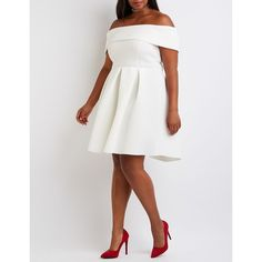 Charlotte Russe Off-The-Shoulder Scuba Dress ($36) via Polyvore featuring plus size women's fashion, plus size clothing, plus size dresses, ivory, plus size skater dress, off shoulder dress, going out dresses, off shoulder skater dress and off the shoulder skater dress