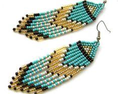 Beaded dangle earrings Seed bead earrings Long dangle earrings