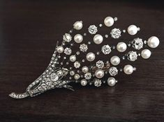 Large Antique French Pearl and Diamond Brooch / Pendant - Antique Jewelry   Vintage Rings   Faberge Eggs #JewelryVintage