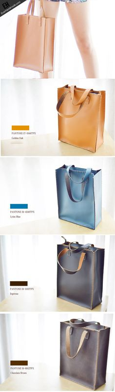 Handmade Leather tote handbag bag vintage purse women leather zip