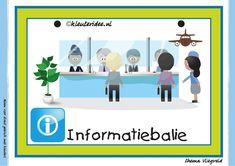 Themahoek 2 informatiebalie bij thema vliegveld voor kleuters, juf Petra van kleuteridee, free printable.