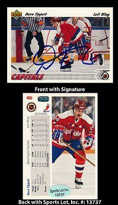 Dave Tippett Signed 1991 Upper Deck #480 Washington Capitals Card SL Authentic . $6.00. National Hockey League Left WingDave TippettHand Signed 1991 Upper Deck #480 Trading CardTippett Played For:Hartford Whalers 1983-1990Washington Capitals 1990-1992Pittsburgh Penguins 1992-1993Philadelphia Flyers 1993-1994.GREAT AUTHENTIC DAVE TIPPETT HOCKEY COLLECTIBLE!!AUTOGRAPHS GUARANTEED AUTHENTIC BY SPORTS LOT, INC. WITH SPORTS LOT, INC STICKER ON ITEM.SPORTS LOT, INC. #: 13737