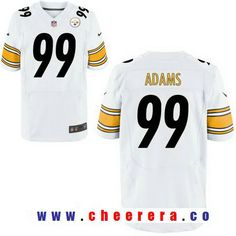 Men's 2017 NFL Draft Pittsburgh Steelers #99 Keion Adams White Road Stitched NFL Nike Elite Jersey