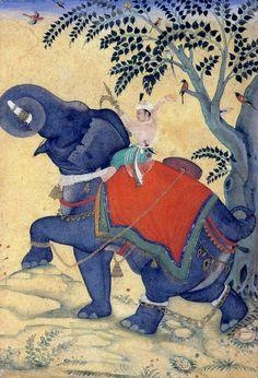 Akbar training on a chained War Elephant, Mughal, India. Mughal Miniature Paintings, Mughal Paintings, Indian Paintings, Elefante Hindu, War Elephant, Berlin Museum, Mughal Empire, Arabian Nights, Kaiser