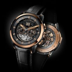 ALLEGRO | Christophe Claret | A master watchmaker with 25 years of experience, Christophe Claret has combined the finest horological complications in Allegro: minute repeater with cathedral gongs, GMT, big date, small seconds and day/night indicator.