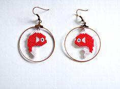 Boucles d'oreilles créoles ♓ poisson rouge ♓ en perles miyuki - tissage…