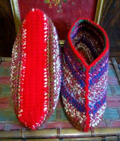 Customer Request for Mixed Colours, with Reds and Blues... Crocheted Slipper Socks.