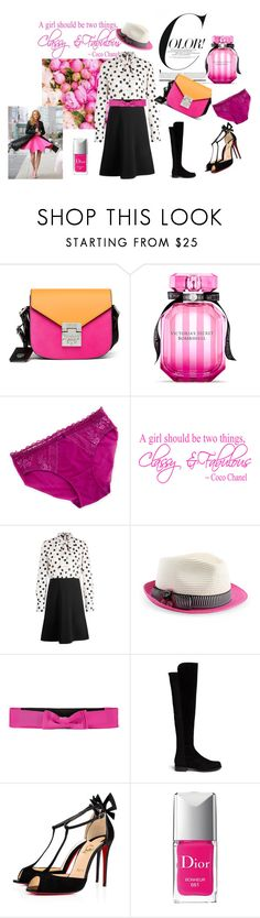 """""""Colorful spring"""" by testedonlyonhumans on Polyvore featuring MCM, Victoria's Secret, Wacoal, Lanvin, Stuart Weitzman, Christian Louboutin and Christian Dior"""