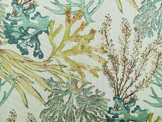Culp Coral Reef Caribbean this beach nautical themed upholstery fabric with coral and sea fans has shades of blue, green and aqua on a ivory background. Coastal Fabric, Beach Fabric, Coastal Decor, Coastal Living, Ocean Fabric, Sea Theme, Nautical Theme, Chair Fabric, Drapery Fabric