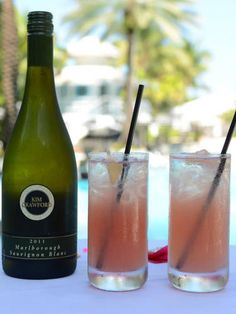 """<i>1 oz. Kim Crawford Sauvignon Blanc<br /> 1 oz. vodka<br /> 1 oz. watermelon juice<br /> 1 oz. simple syrup<br /> ½ oz. lemon<br /> 1½ oz. soda water</i><br /><br />   To make simple syrup, mix equal parts hot water and sugar until sugar is dissolved. Combine ingredients except soda water in a cocktail shaker filled with ice. Shake and strain into a glass filled with ice. Top with soda water.<br /><br />  <i>Source: <a href=""""http://www.raleighhotel.com/"""" target=""""_blank"""">The Raleigh</a></i>"""