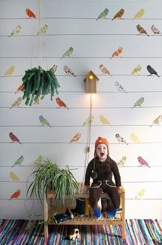 What's going on at INKE? Latest news on Dutch designer Inke Heiland. Quirky Wallpaper, Kids Room Wallpaper, Wall Wallpaper, Bird Wallpaper Bedroom, Children Wallpaper, Casa Kids, Interior Design Trends, Designer Wallpaper, Wallpaper Designs