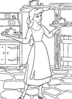 Cinderella Being A Servant Coloring Page