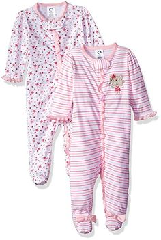 20e81f36d2 Gerber Baby Girls 2 Pack Zip Front Sleep  n Play