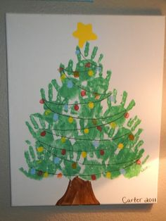 Handprint Christmas Tree with fingerprint lights canvas. Do it with each family members hand print though Kids Crafts, Daycare Crafts, Toddler Crafts, Preschool Crafts, Preschool Learning, Christmas Tree Canvas, Handprint Christmas Tree, Preschool Christmas, Christmas Tree Hand Print