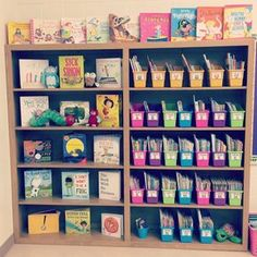 Classroom Library Blooming in First Grade First Grade Classroom, New Classroom, Classroom Setup, Classroom Displays, Kindergarten Classroom, Classroom Libraries, Classroom Design, Kindergarten Lessons, Elementary Teacher